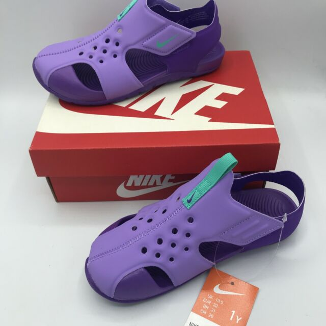 NIKE GIRLS Youth Size 1Y Sunray Protect 2 Water Mary Jane Shoes Purple NEW