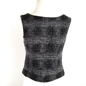Banana-Republic-Wool-Blend-Sleeveless-Top-Womens-4-Open-Back-Gray-Black-Fuzzy