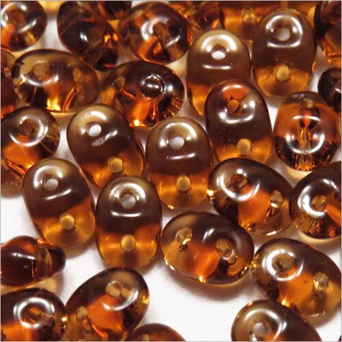Lot de 100 Perles de Rocailles SuperDuo Matubo 2,5x5mm en Verre Transparent
