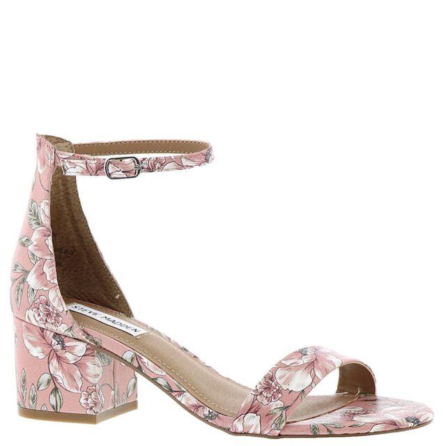 750bc7c7361 Steve Madden Irenee Pink Multi Floral Block Heel Open Toe Ankle Strap Sandal  9.5
