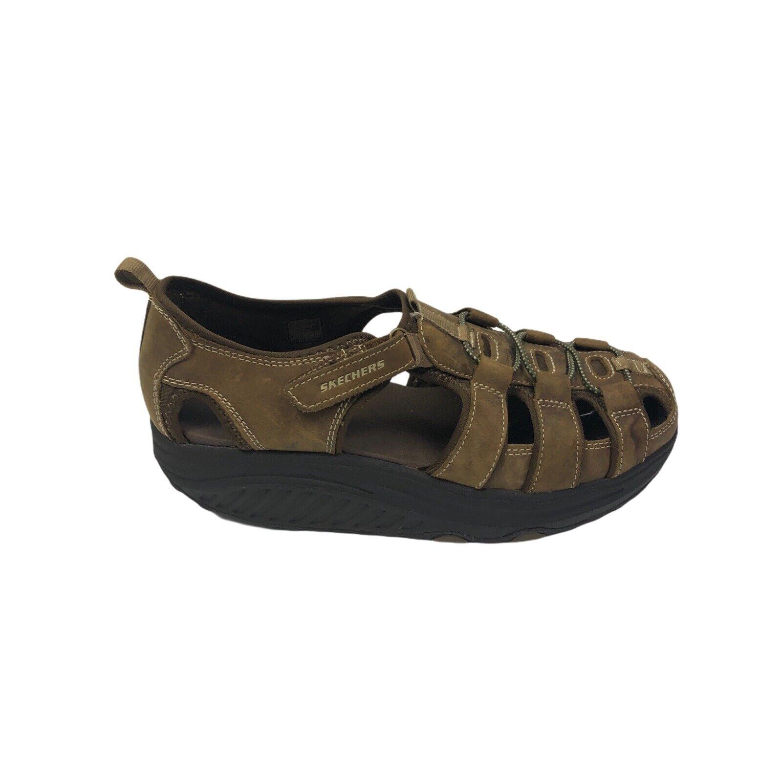 Skechers Shape ups Confort Pêcheur Sandales Tonifiant Cuir Marron Femme Taille 8