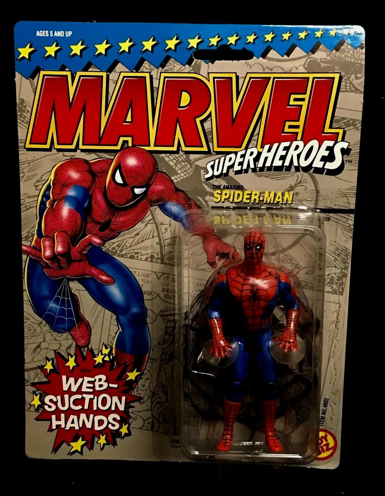 N.Mint Boxed Toy Biz MARVEL SUPERHEROES Web-Suction SPIDER-MAN ACTION FIGURE 90s