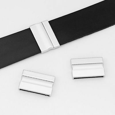 3x Matte Silver Straight Magnetic Clasp for 10x2.5mm Flat Leather Cord Making