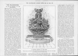 1908-Antique-Print-LONDON-Savoy-Water-Fountain-Bronze-381