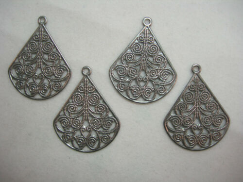 Silver Plated Victorian Filigree Drops Earring Findings 4