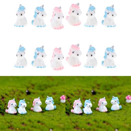 12 x lovely Mini Unicorn Statues Blue Pink Fairy Garden Dollhouses Ornament
