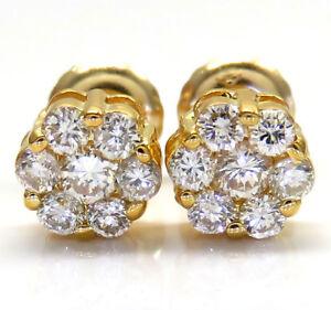 0-50ct-14k-Yellow-Gold-Round-Cut-Diamond-Stud-Cluster-Earrings-Mens-Ladies