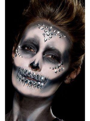 Attivo Donna Ragazze 100 Argento Gioiello Faccia Gemma Pietre Halloween Make Up Costume Divertente-mostra Il Titolo Originale
