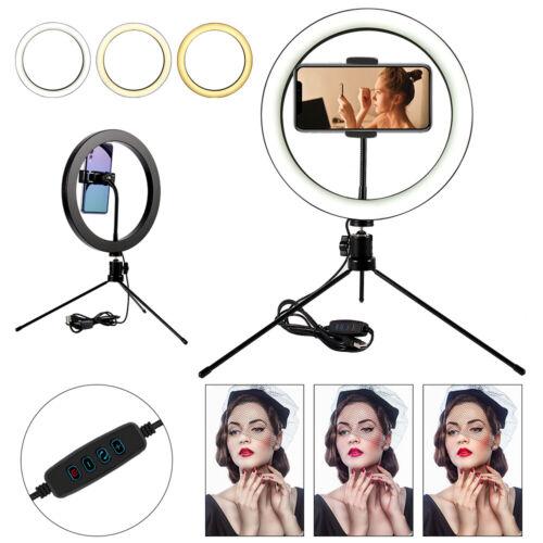 """10/"""" Anillo de luz LED con soporte para teléfono TRIPOT Stand /& Kit Para Maquillaje en vivo de YouTube"""