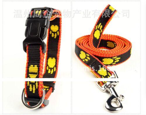 "orange paw print Dacron 0.6/"" dog leash and collar set for medium and small pet"
