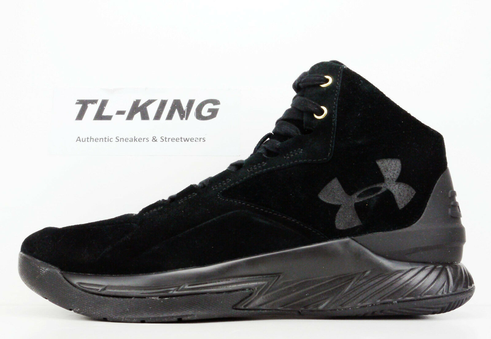 fad356fa521c Under Armour UA Curry 1 Lux Mid Black Black Black SDE Suede 600 Pairs  Limited 1298701