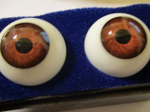16 mm Vintage Brown Glasaugen Glass Eyes 10 mm Iris W Germany Doll Mannequin