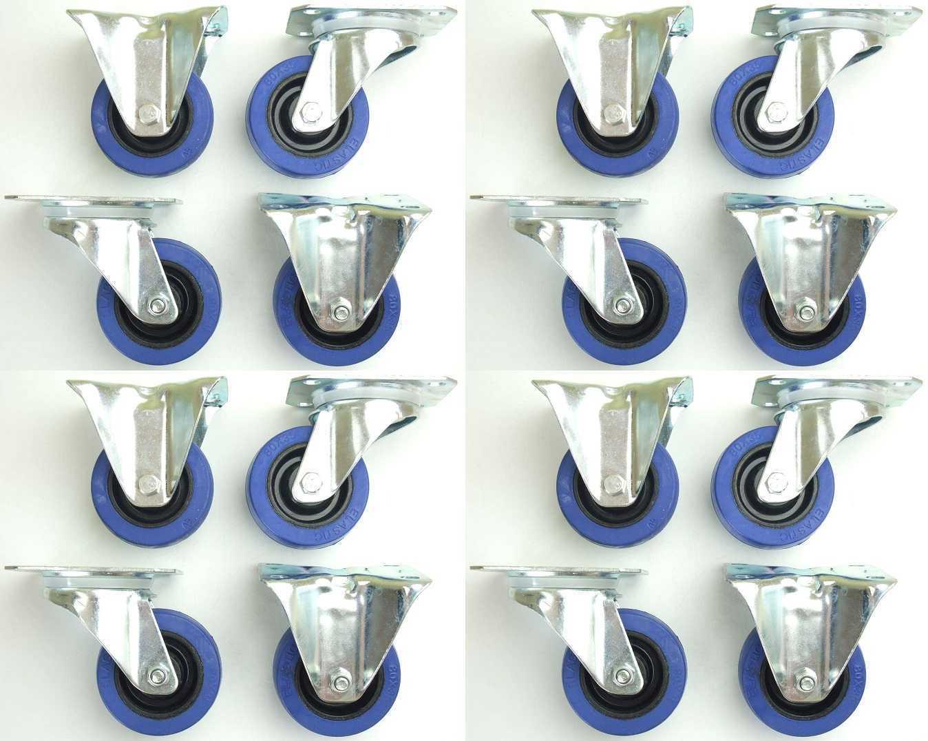 4 Sets SL 80 mm Schwerlast Blau Wheels Lenkrollen & Bockrollen Transportrollen