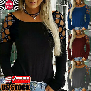 Women-Hollow-Out-T-Shirt-Studded-Long-Sleeve-Blouse-Ladies-Loose-Casual-Tops-Tee