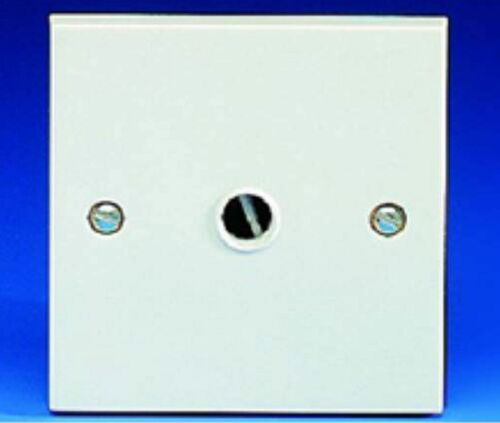 GET White Square Edge GFOPLATE 20A Flex Cable Outlet Front Entry Plate