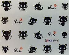 Nail Art Water Decals Cute Black Cat Kitten Halloween BLE2195