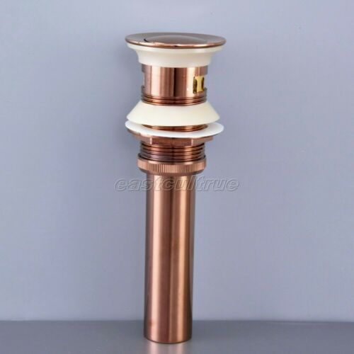 Rose Gold Copper Bathroom Round Cap Pop UP Sink Drain With Overflow esd077