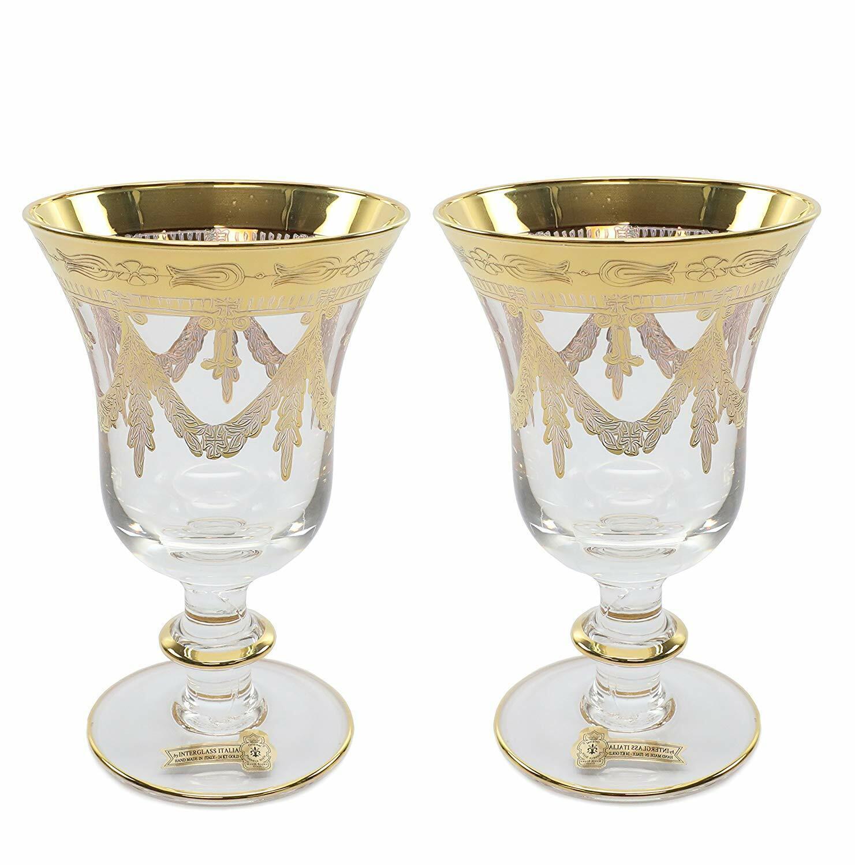Interglass   Wine  2-pc Luxury Crystal Glasses, Vintage Design, 24K or
