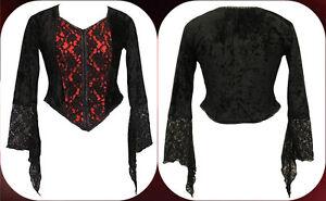 DarkStar Red Purple Velvet /& Black Lace Gothic Vampire Corset Top Freesize 12-16