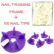 Nail Art Removable Training Frame  + 100PCS False Tips Practice Tool PURPLE
