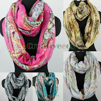 Womens Fashion Scarves Colorful Paisey Floral Print Soft Long/Infinity Scarf New