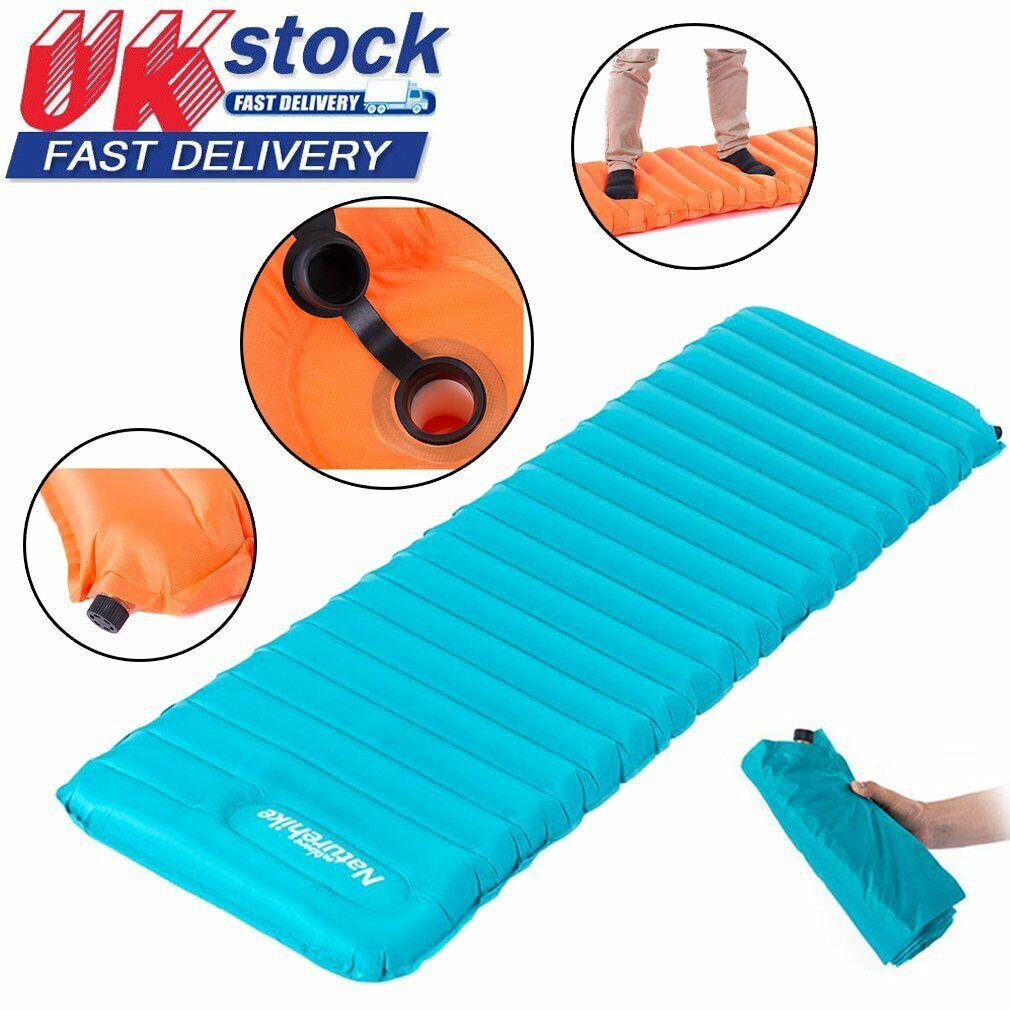 Ultralight Inflatable Sleeping Mat Camping Air Pad Roll Bed Mattress Orange NEW