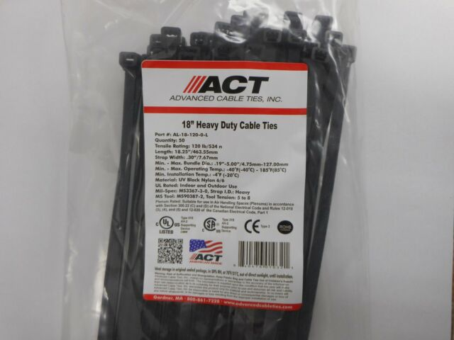 df19aeb70070 ACT Heavy Duty Cable Ties 120 LB 18 Inch UV Black 50/pack for sale ...