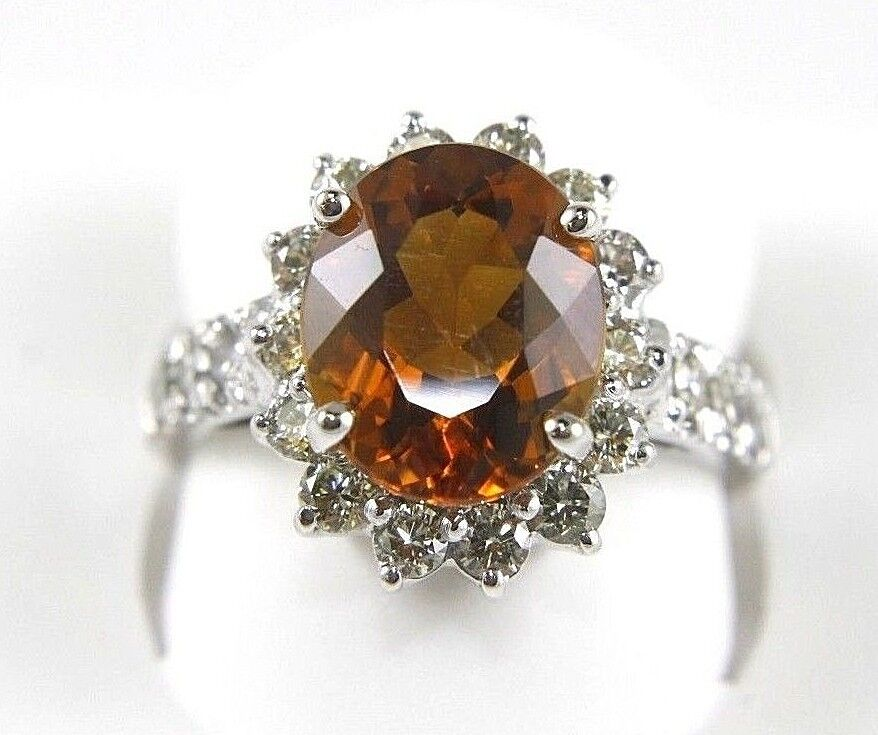 b30bfede48dfd w Ring Citrine orange Round Fine Diamond Halo 4.37Ct gold White 14k ...