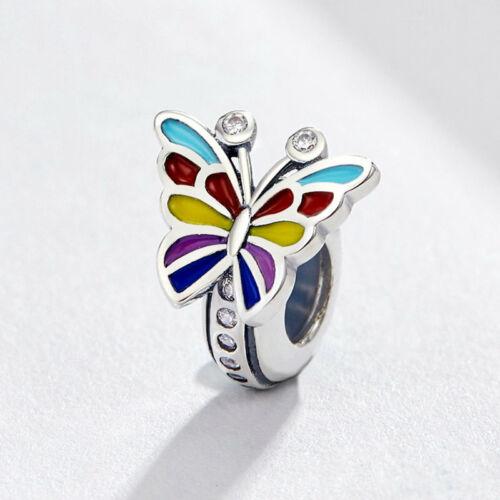 VOROCO Vintage Sterling silver white Enamel Zircon Butterfly Charm fit bracelet