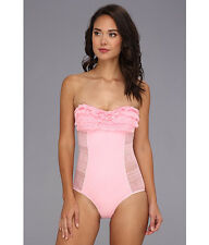 Juicy Couture Prima Donna Ruffled Bandeau Maillot 1 Piece Swimsuit NWT XS  2 4