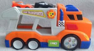 TRANSPORTER-auto-giocattolo-piu-due-AUTO-suoni-e-luci