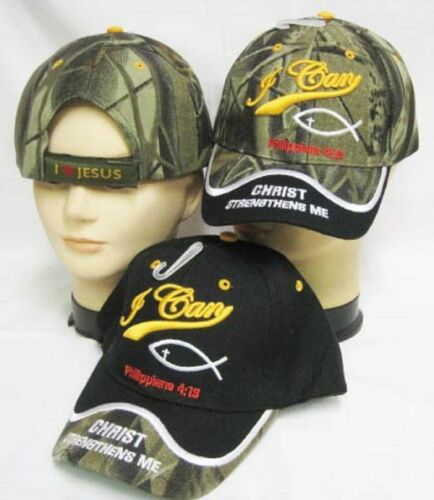 I Can Christ Strengthens Me Philippians 4:16 Camo Embroidered Cap CAP840A Hat