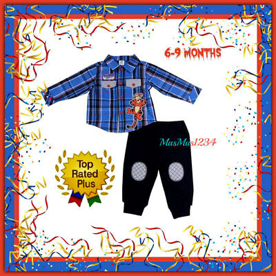 DISNEY® Baby Boy 6//9M Tigger Plaid Shirt /& Fleece Pants Set NWT $42