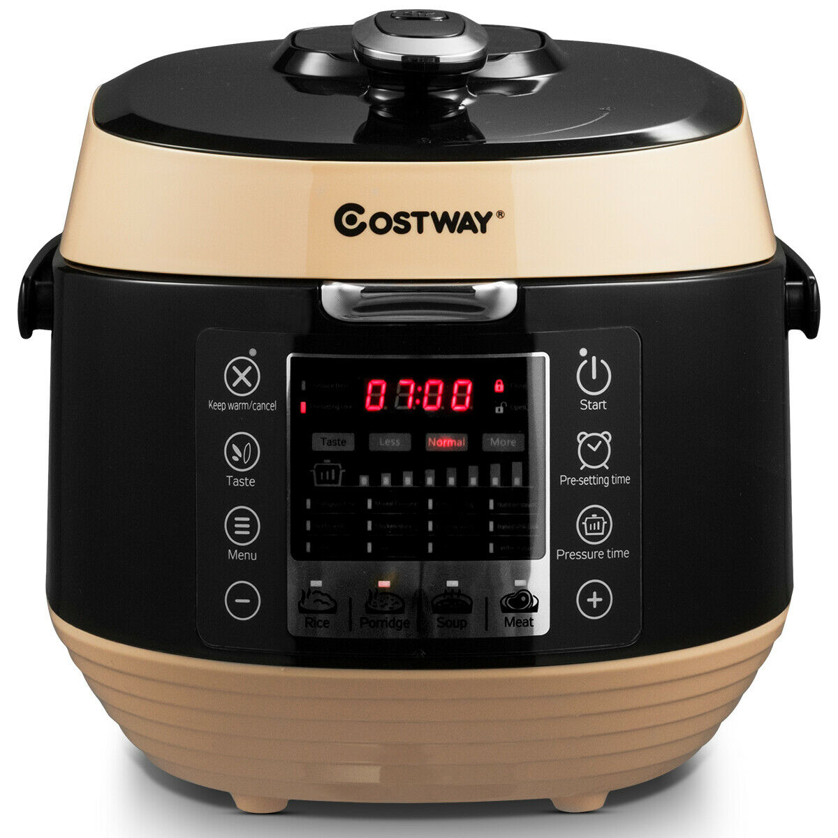 5.3 Qt 12-in-1 Programmable Electric Pressure Rice Cooker Non-stick Pot Black