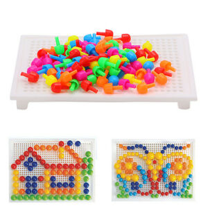 96Pcs Mushroom Nails Board Block Beads Kit Creative Educational kid DIY Toy Gift