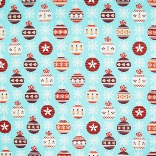 Bobbing Baubles Decoration Christmas Xmas 100/% Cotton Fabric 140cm Wide