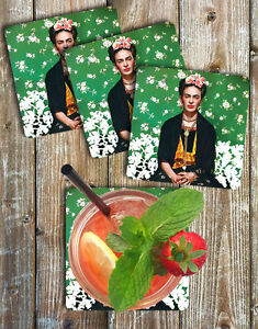 Frida-Kahlo-Coasters-Set-Of-4-Non-Slip-Neoprene-Barware-Gift-Ideas