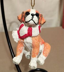 NEW-BOXER-DOG-PUPPY-WITH-RED-amp-WHITE-SCARF-CHRISTMAS-ORNAMENT-COLLECTIBLE