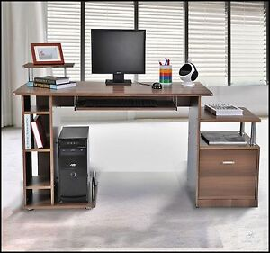 Image Is Loading Large Brown Workstation Home Office Desk Computer Pc