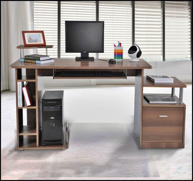 Large Brown Workstation Home Office Desk Computer Pc Furniture Filing Storage Uk