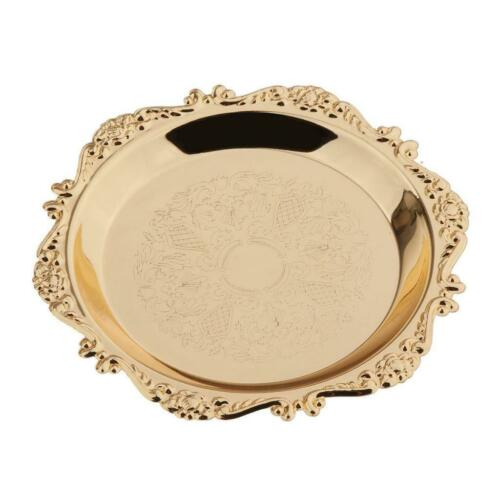 Gold Round Fruit Dish Pastry Plate Metal Platter Dinnerware Serving Dishes