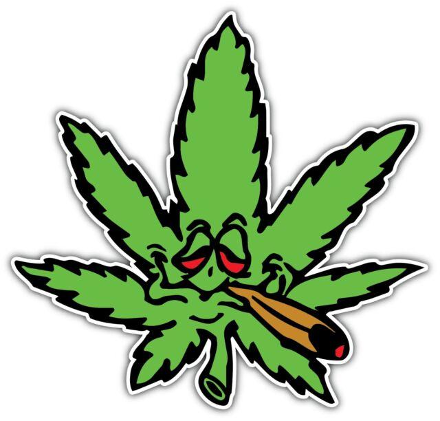 Weed Marijuana Ganja Pot Grass Smoking Funny Car Bumper Vinyl Sticker Decal 4X5