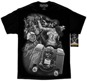 DGA-David-Gonzales-Art-Ride-Or-Die-Born-to-Be-Wild-Tattoo-Biker-Punk-Mens-Shirt