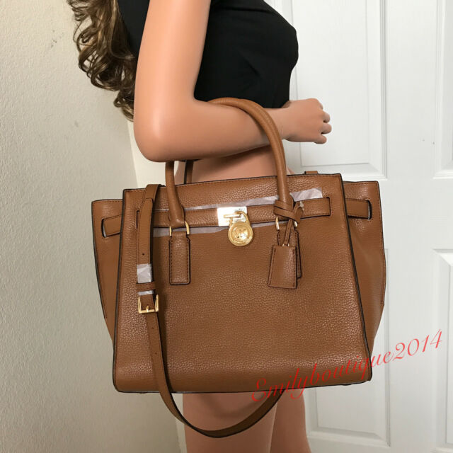 6aa31dfd5d38 MICHAEL KORS HAMILTON TRAVELER LARGE BROWN LEATHER SHOULDER HANDBAG BAG  PURSE