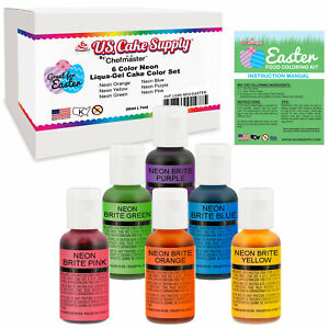 Details about 6 Neon Easter Egg Coloring Decorating Kit by US Cake Supply -  .75 fl. Oz. (20ml)