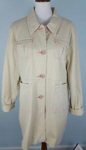 Denim-amp-Co-Women-039-s-Button-Up-Coat-Cotton-Blend-Sateen-Lined-Size-Large