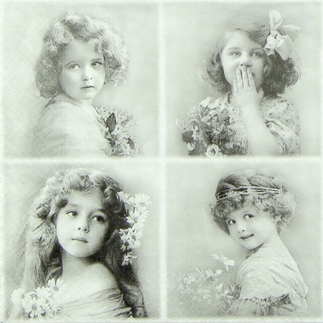 4x Paper Napkins -Vintage Four Flower Girls- for Party, Decoupage Craft