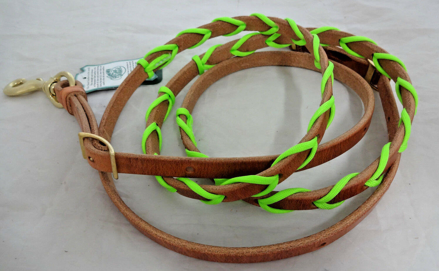 Barrel Roping Rein Hermann Oak Harness Leather Paracord Laced Lime verde Horse