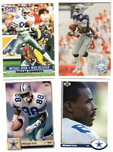 EARLY-039-90-039-S-NFL-PLAYER-MICHAEL-IRVIN-LOT-OF-4-CARDS-MINT