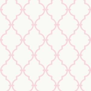 Chargement De L Image Pink White Trellis Wallpaper Nursery Baby Modern